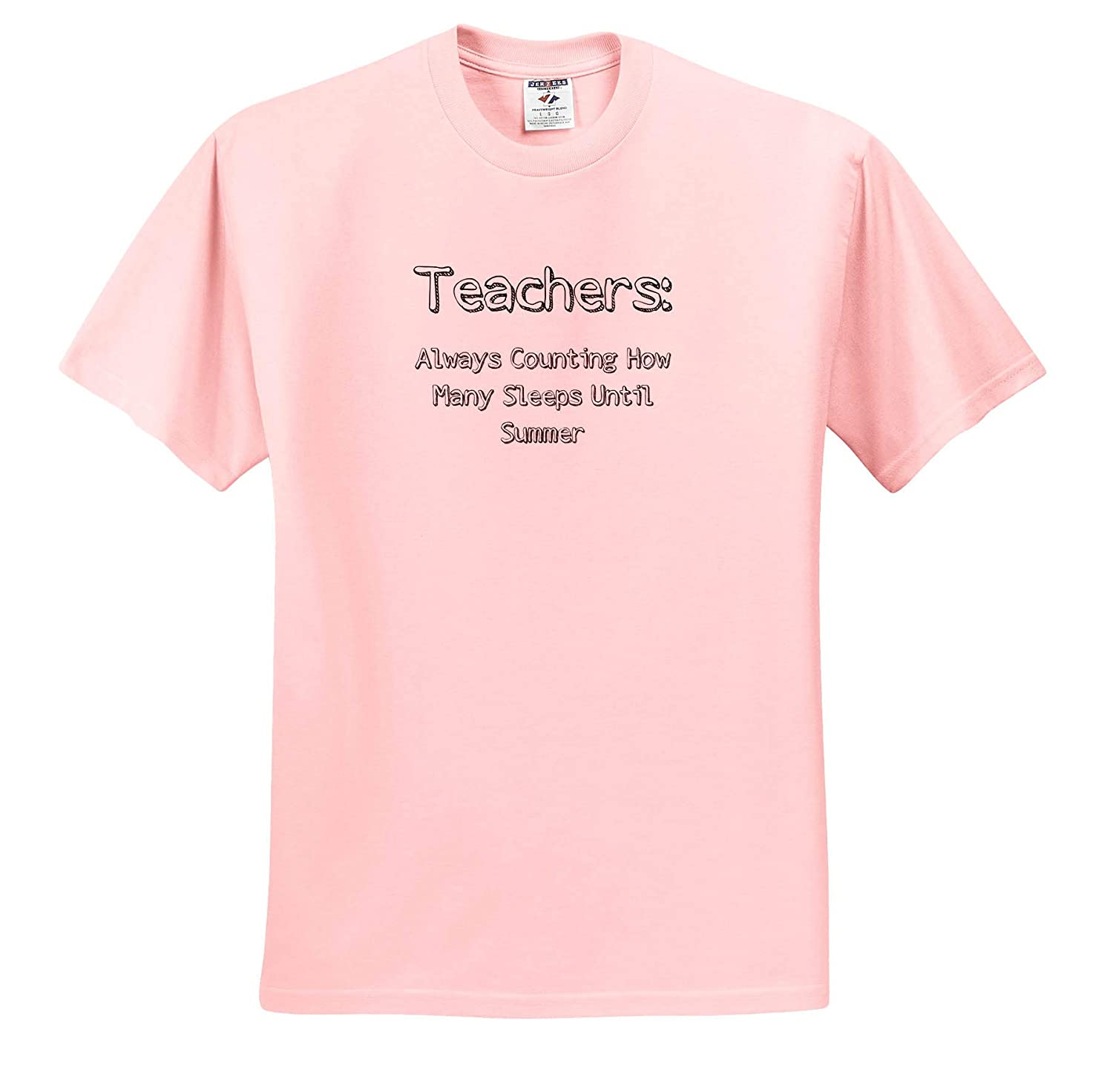 3dRose Carrie Merchant Image Image of Teachers Always Counting How Many Sleeps Until Summer Adult T-Shirt XL ts/_309316