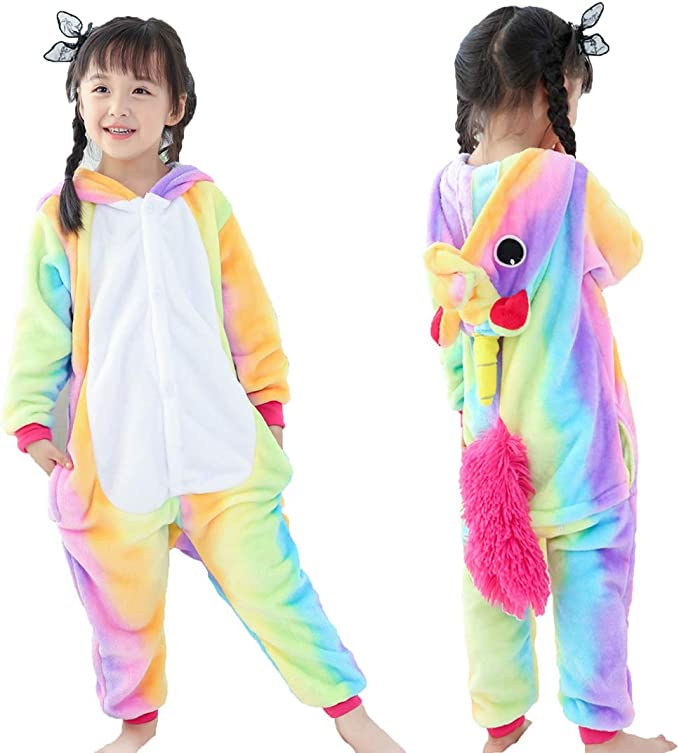Pijama Unicornio Niña Entero Traje Disfraz Invierno Franela ...