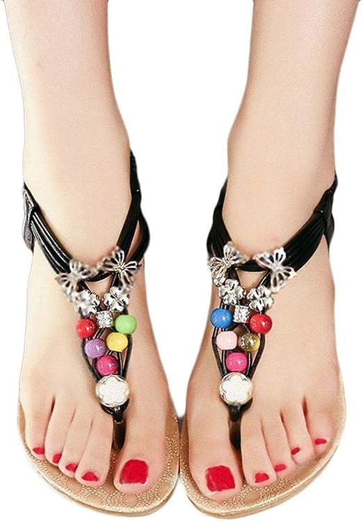 Summer Bohemia Sweet Beaded Women/'s Sandals Clip Toe Sandals Beach Flower Shoes