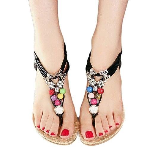 e7d573079be1 Amazon.com  ❀Todaies Women Summer Flip Flop Bohemia Sweet Beaded Sandals  Clip Toe Sandals Beach Shoes 2018  Clothing