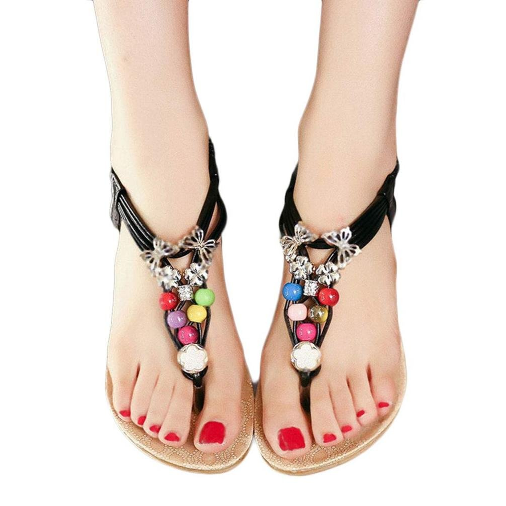 ❀Todaies Hot Sale Women Summer Flip Flop Bohemia Sweet Beaded Sandals Clip Toe Sandals Beach Shoes 2018 (US 8, Black)
