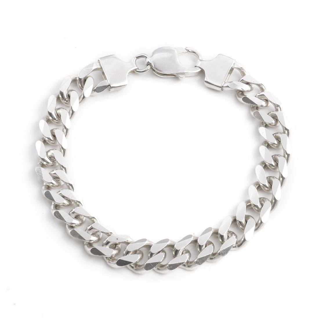 Silverly Men's .925 Sterling Silver 10 mm Solid Heavy Strong Curb Chain Bracelet, 21.5 cm 01spSSB007