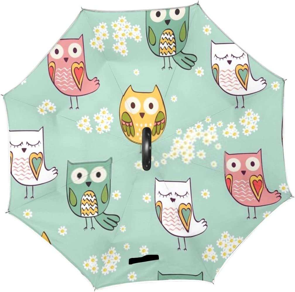 Double Layer Inverted Inverted Umbrella Is Light And Sturdy Cute Floral Seamless Pattern Owls Reverse Umbrella And Windproof Umbrella Edge Night Refl