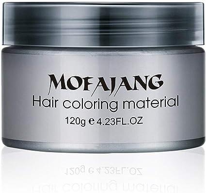 Salon Hair Styling Pomade Silver Ash Grandma Grey Hair Waxes Temporalmente desechable Tinte para el cabello Colorante Crema de barro Unisex - Gris