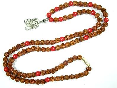 Mogul interior adultos Oración Mala cuentas Coral Rudraksha ...