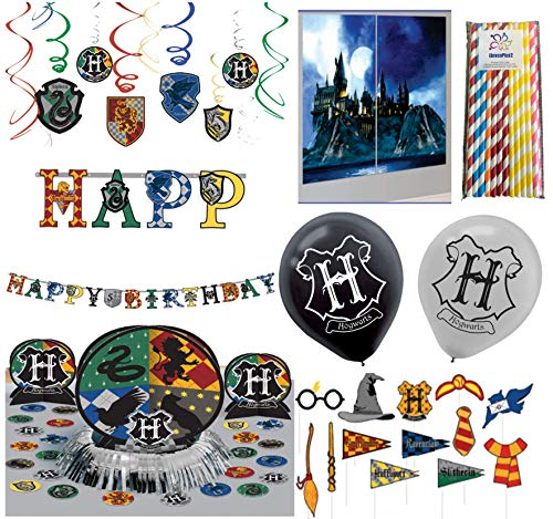 Harry Potter Ultimate Party Decorating Kit - Includes Hanging Swirls, Table Decorating Kit, Scene Setter with Photo Props, Add-An-Age Happy Birthday Banner, Hogwarts Balloons and ElevenPlus2 straws ()