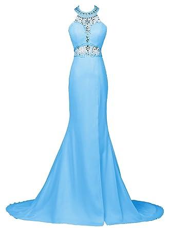 Dresstells reg; Long Mermaid Prom Dress Beadings Halter Evening Gowns with Slit - Blue -