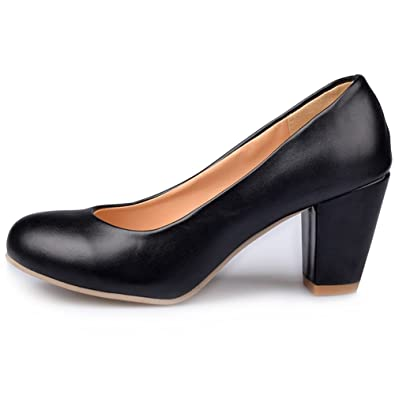 60d62b2de4d Image Unavailable. Image not available for. Color  KingRover Women s  Elegant Closed Toe Low Cut Work Shoes High Block Heel Slip ...