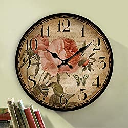 12 Retro Vintage Beautiful Rose French Country Tuscan Style Non-Ticking Silent Wooden Wall Clock Art Decoration
