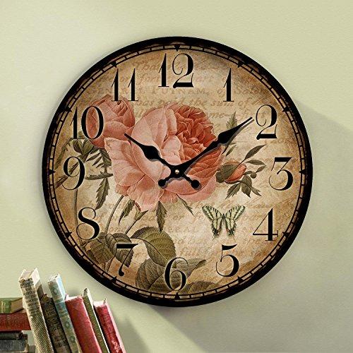12 inch retro wooden wall clock farmhouse decor