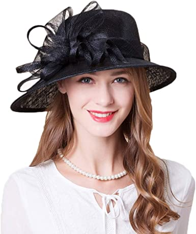 FADVES Women Sinamay Fascinators Wide Brim Fedoras Wedding Flower Ladies Elegant Church Hats