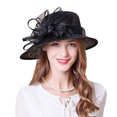 c4f506c344bd4 FADVES Women Sinamay Fascinators Wide Brim Fedoras Wedding Flower Ladies  Elegant Church Hats Black