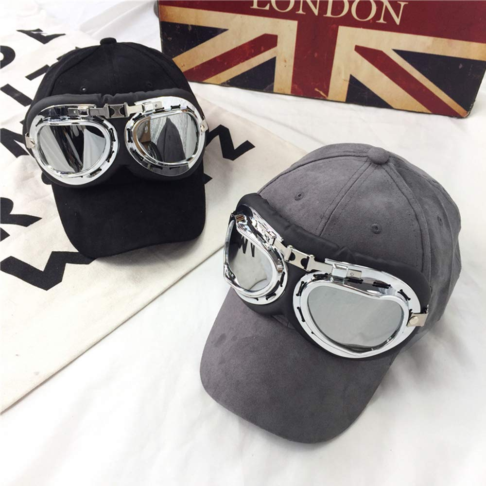 Cestval Motorbike Goggles Windproof Protect Goggles Vintage Style Helmet Glasses Harley Glasses for Aviator Pilot Scooter Silver