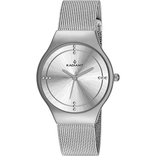 Reloj Radiant para Mujer con Correa Plateada y Pantalla en Blanco RA404601: Amazon.es: Relojes