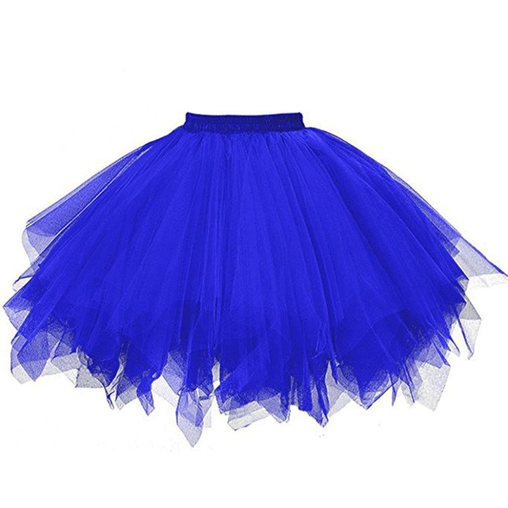 bluee2 iYYVV Womens Pleated Gauze Colours Skirt Adult Tutu Dancing Skirt