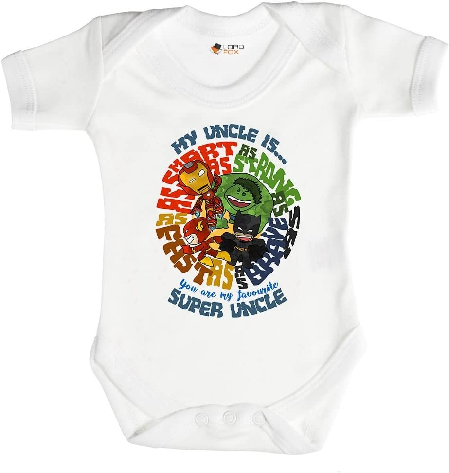 0-3 Months Babygrow Superhero Uncle Gift Marvel Babygrow Baby Grow All Sizes Onesie 0-24 Months