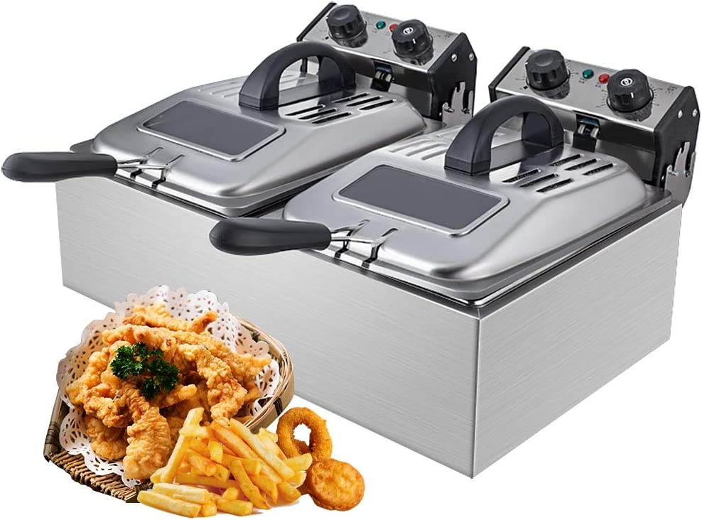 WantJoin Commercial Non-smoke Deep Fryer Visible deep fryer 2500W 12L (6L*2)Stainless Steel French Fry Double Deep Fast Fryer with 2 Baskets,Commercial Restaurant,Fast Food Restaurant (Stainless Steel)