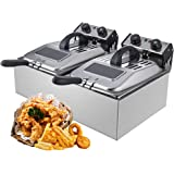 WantJoin Commercial Deep Fryer with Visible Window Deep fryer 2500W 12L (6L* 2)2* 5.7QT Stainless Steel French Fry Double Dee