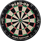 Viper Dead-On Tournament Bristle Steel Tip Dartboard Set with Staple-Free Bullseye, Galvanized Metal Triangular Spider Wire for Reduced Bounce Outs and Increased Scoring; High-Grade Self-Healing Sisal Board