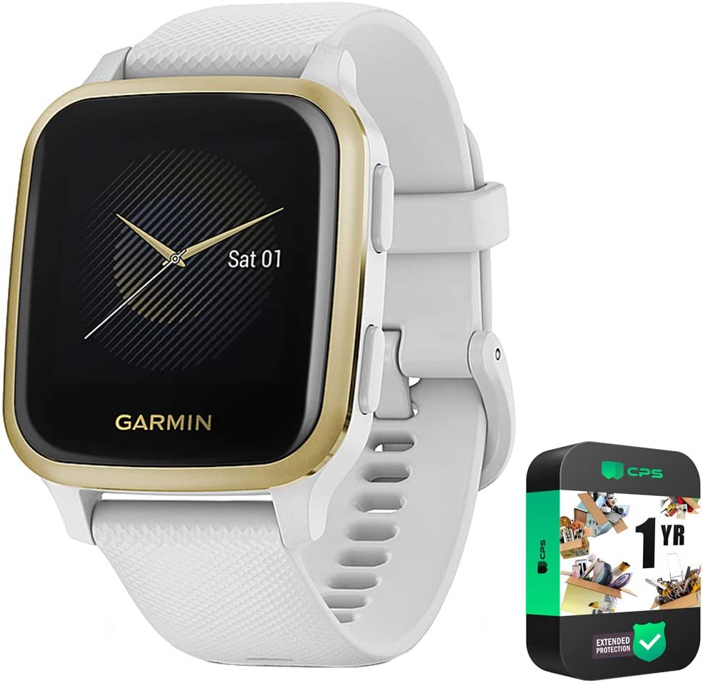 Garmin 010-02427-01 Venu Sq, Light Gold Aluminum Bezel with White Case and Silicone Band Bundle with 1 Year Exteded Protection Plan