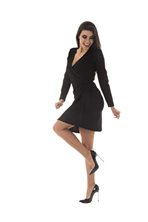 c9e6a3b77f62 Women s Classic Long Sleeve Wrap Dress Elegant Modest Belted Semi Formal  Midi Work Office Dresses (