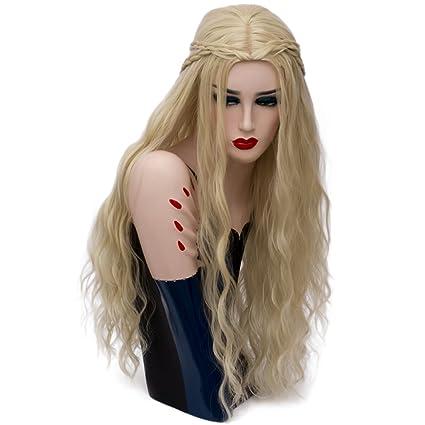 priomix moda nuevo estilo trenzado peluca largo rizado pelucas de Anime Cosplay disfraces para Daenerys +