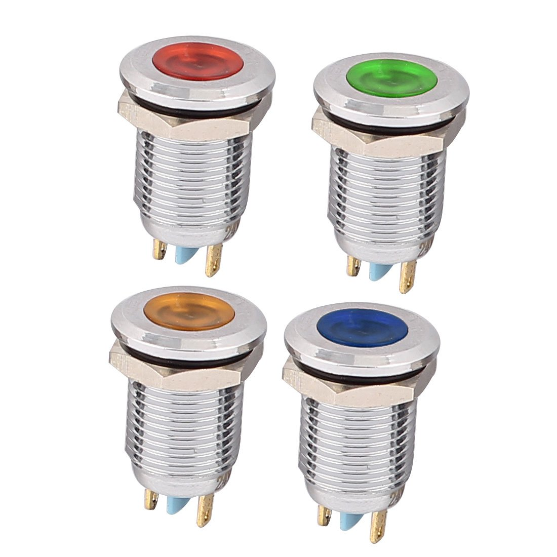 Uxcell 4Pcs 12mm Thread Dia DC 24V Red Green Yellow Blue LED Indicator Light