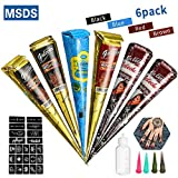 Janolia Temporary Tattoo Set, 6 Tattoo Paste Cones of 4 Colors, 4 Needles, 23 Free Adhesive Stencils, 1 Applicator Bottles, Safe Waterproof for Body Art Painting Drawing
