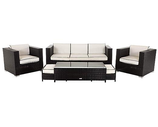 Muebles de jardín de mimbre, 6 piezas Ascot 3 plazas Sofá ...