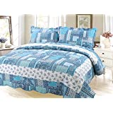 Beauty Sleep Bedding Printed 3 Piece Bedspread Quilt Set - King Size