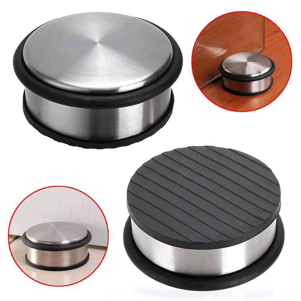 Sumnacon Heavy Duty Floor Door Stopper No Drill, Durability Stainless Steel Door Stops with Anti-Skid Rubber - Contemporary Decorative Safety Door Wedge for Home Office Commercial Industrial (Type 1)