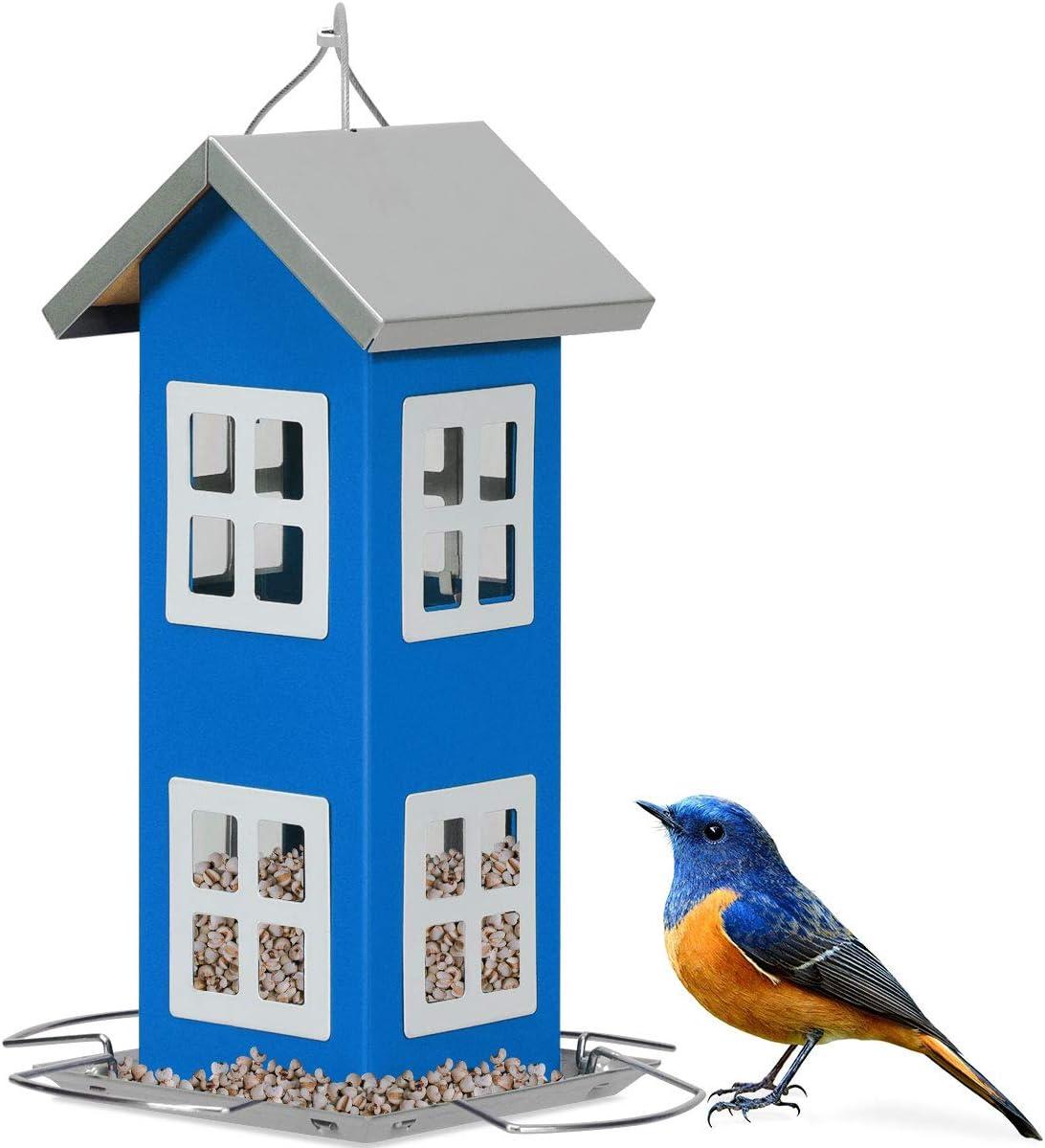 COSTWAY Comedero Colgante para Aves Alimentador de Pájaros 26x12x12cm para Jardín Patio Alféizar Exterior (Azul)