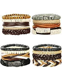 Mixed Wrap Leather Wristbands Bracelets and Wood Beads Bracelet Set for Men Women Adjustable