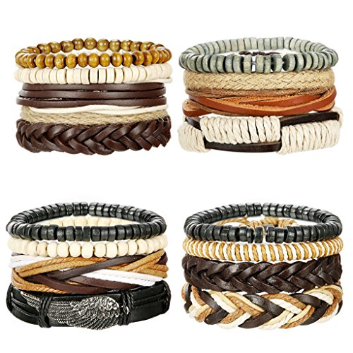 LOYALLOOK 16Pcs Leather Bracelets for Men Women Wooden Beaded Bracelets Braided Cuff Multi Layer Stackable Bracelet Beaded Leather