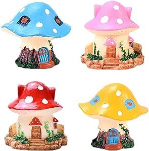 MAOMIA Miniature Fairy Garden Mushroom House 4 Pcs Micro Landscape Garden Decoration Plant Flower Pots Ornaments
