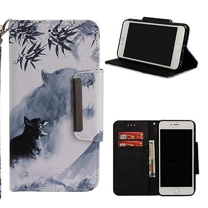 iPhone 6 Plus/6S Plus Case,Flip Folio Kickstand Wallet Case Inner Rubber Bumper