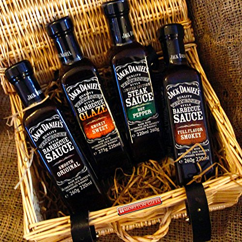 Jack Daniel S Sauces Luxury Hamper - Bbq Smooth Original Sauce, Barbecue Glaze, Steak Hot Pepper Sauce And Full Flavour Smokey - Great Father's Day Man Gift - By Moreton Gifts