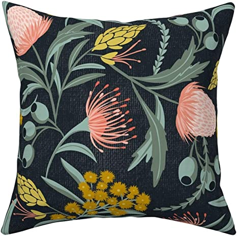 Amazon Com Roostery Throw Pillow Floral Illustration Spring Flowers Moody Protea Nature Inspired Botanical Garden Print Velvet Knife Edge Accent Pillow 18in X 18in With Insert Home Kitchen