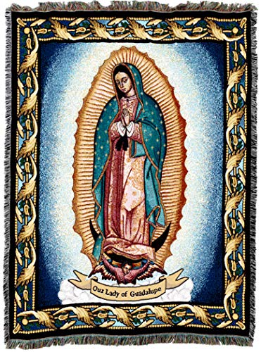 (Pure Country Weavers Virgin Mary - Our Lady of Guadalupe Blessed Virgen (La Reina de Mexico) Woven Tapestry Throw Blanket Cotton USA 72x54)