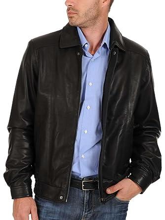 Leather4u Chaqueta de cuero para hombre, piel de vaca, Negro ...