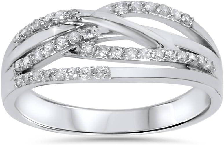 10K White Gold Diamond Trio Crossover Ring   10k White gold 3 round diamond crossover band   Modern 10k diamond ring