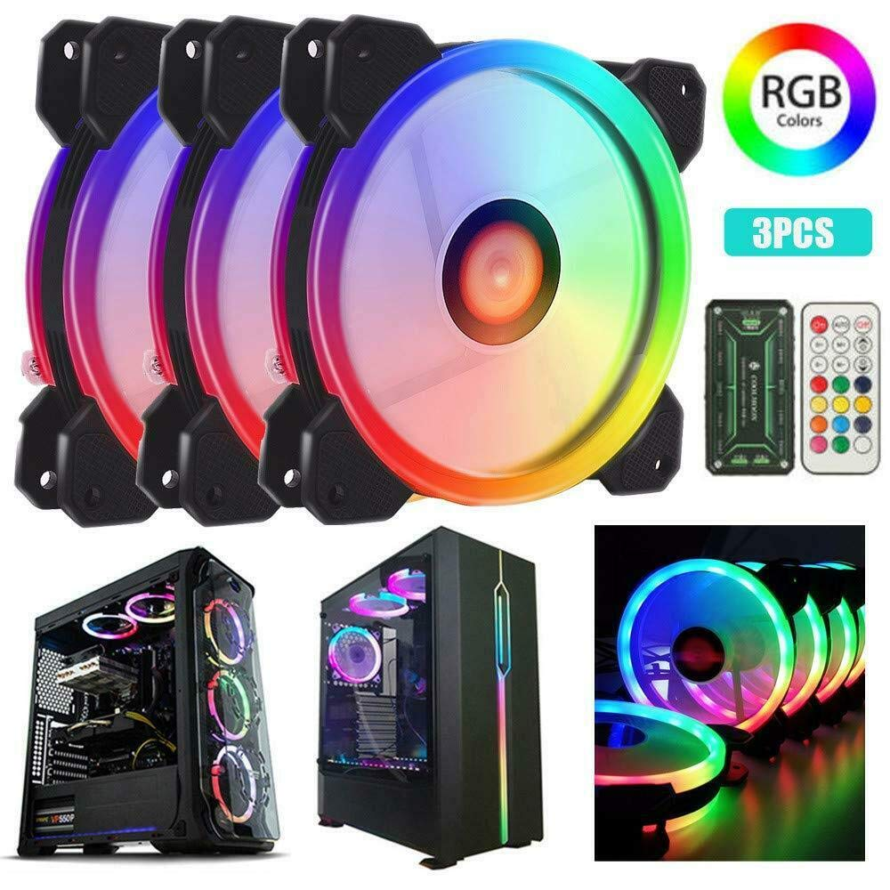 3 Pack RGB LED Cooling Fan Jestar Wireless RGB LED 120mm Fan LED Case Fan Kit 12V with Remote Quiet Edition High Airflow Compatible with ASUS Aura Sync High Performance Speed Fans with Controller for