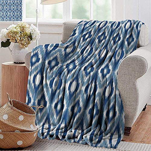 PearlRolan Cool Blanket,Ikat,Ethnic Ikat Design with Regular Multi-Shaft Loom Uneven Twill Trend Motif,Dark Blue and White,300GSM,Super Soft and Warm,Durable Throw Blanket 70