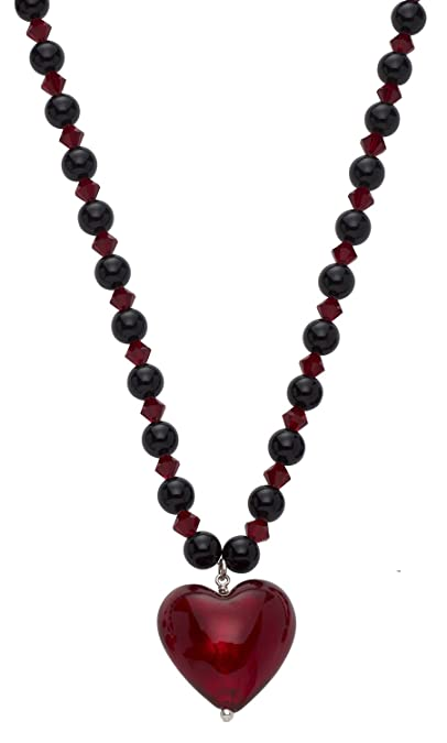Amanti Venezia Valentina Genuine Murano Glass Red and Gold Necklace of 50cm ENuUN0HGh