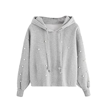 36493f54faf Amazon.com  Clearance!Women Pearl Sweatshirt Hooded Pullover ...
