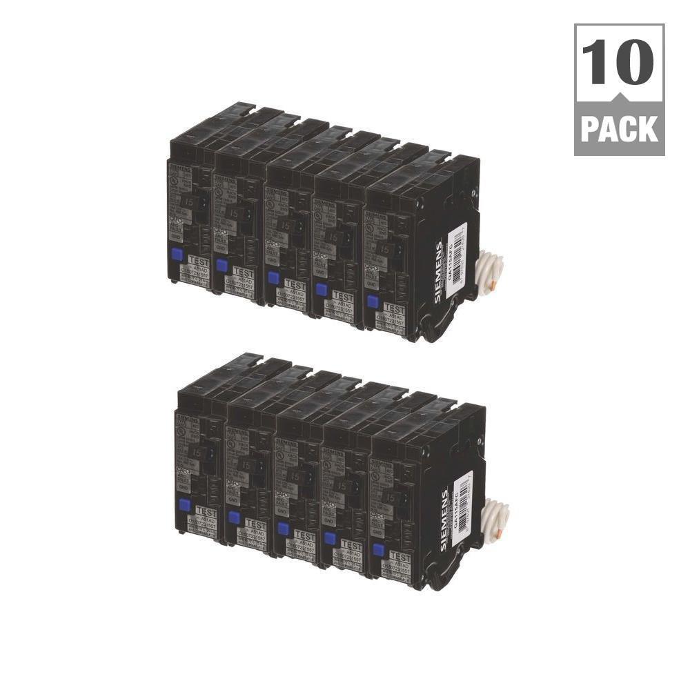 15 Amp Single Pole Combination AFCI Circuit Breakers (10 Pack) Siemens BUNQAAFC1510