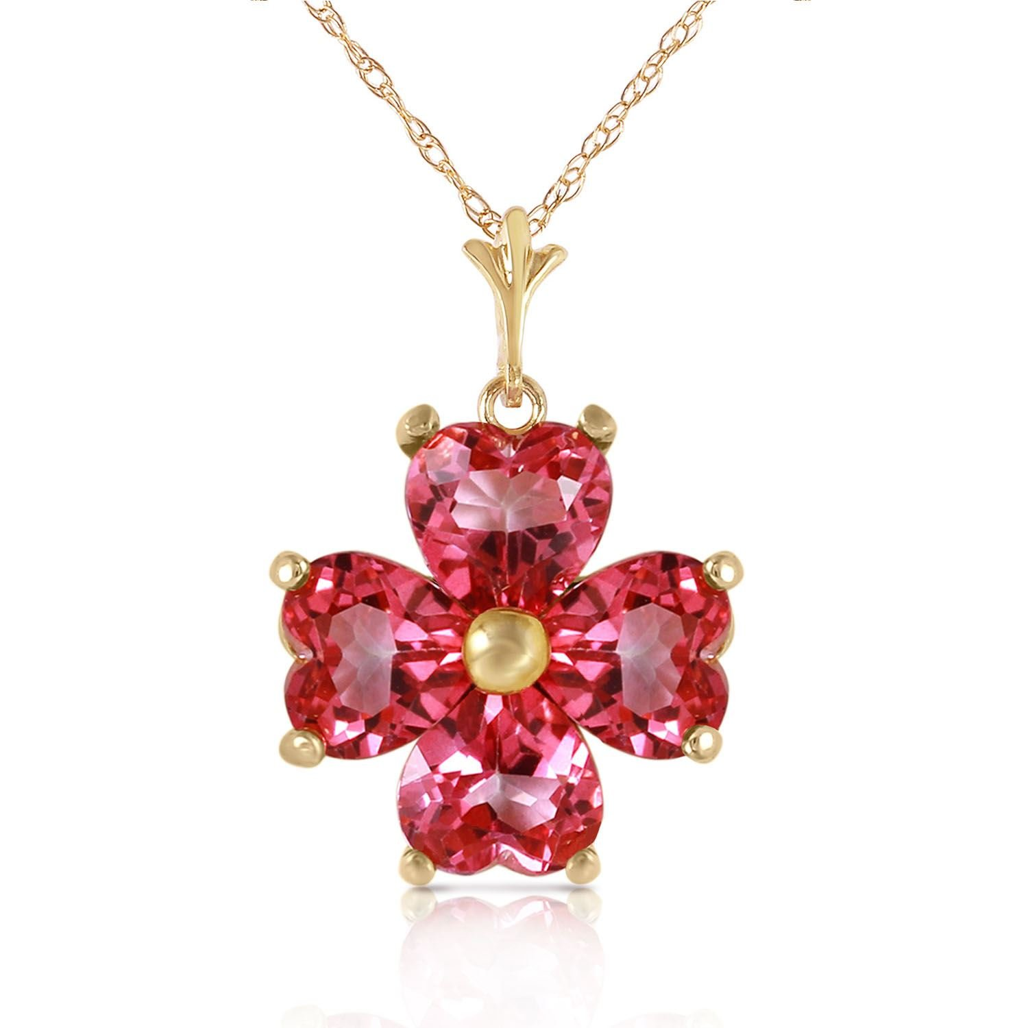 ALARRI 3.8 CTW 14K Solid Gold Orchid Love Pink Topaz Necklace with 18 Inch Chain Length