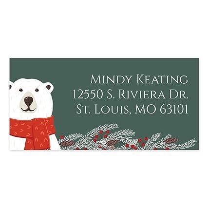 amazon com polar bear self adhesive rectangle address labels