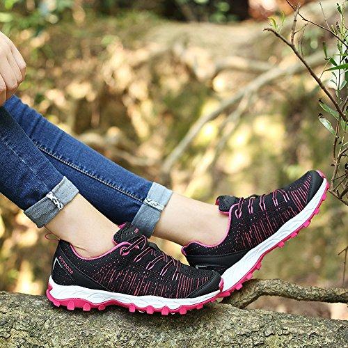 Venshine Uomo Donna Scarpe Da Corsa Trail Leggero In Maglia Da Trekking Outdoor Scarpe Da Trekking Moda Sneakers Nero-rosso