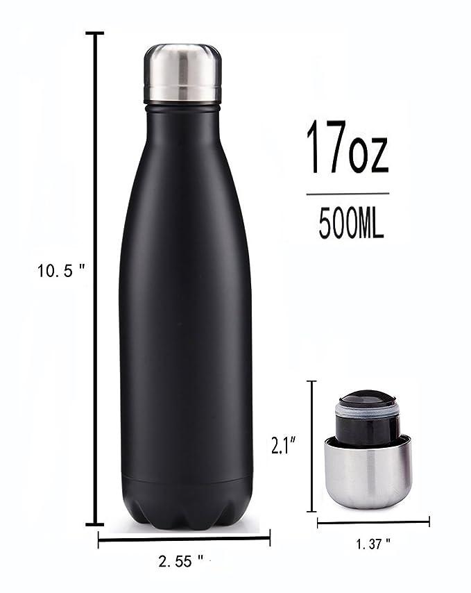Botella de agua, aislado al vacío, acero inoxidable, para viajes, deportes, 500 ml, diseño de doble pared, boca estándar, respetuoso con el medio ambiente y ...